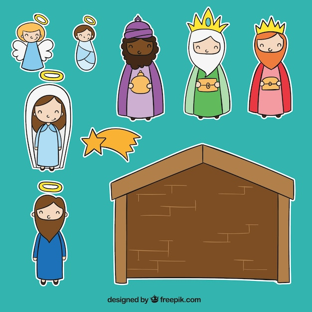 Cut-Out Nativity Scene  Free Vector