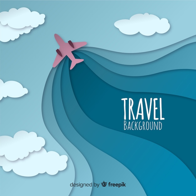 Cut out plane travel background Free Vector