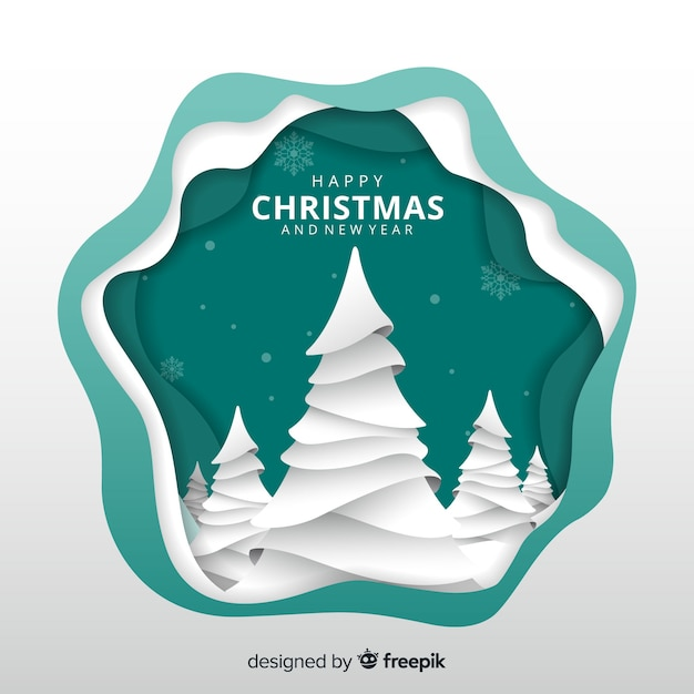 Cut out trees christmas background Free Vector