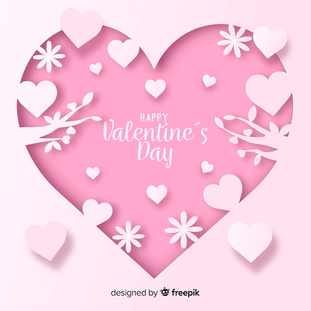 Cut out valentine's day background Free Vector