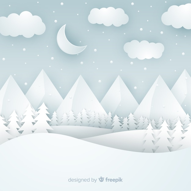 Cut out winter landscape background Free Vector