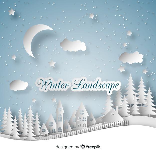 Cut out winter landscape Free Vector