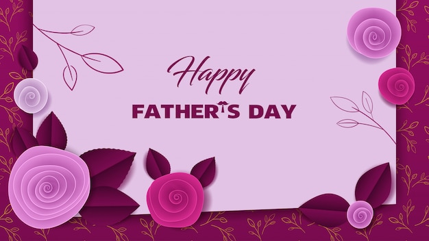 Cut paper floral banner fathers day Premium Vector