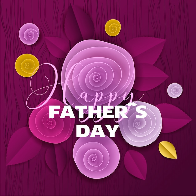 Cut paper floral card fathers day Premium Vector