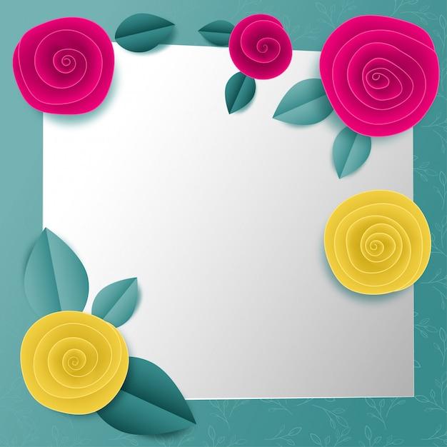 Cut paper floral square frame Premium Vector