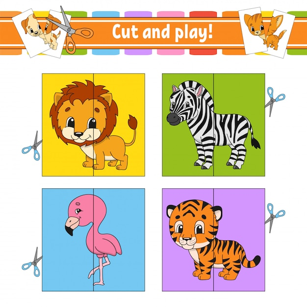 Cut and play. flash cards. color puzzle. education developing worksheet. activity page. Premium Vector