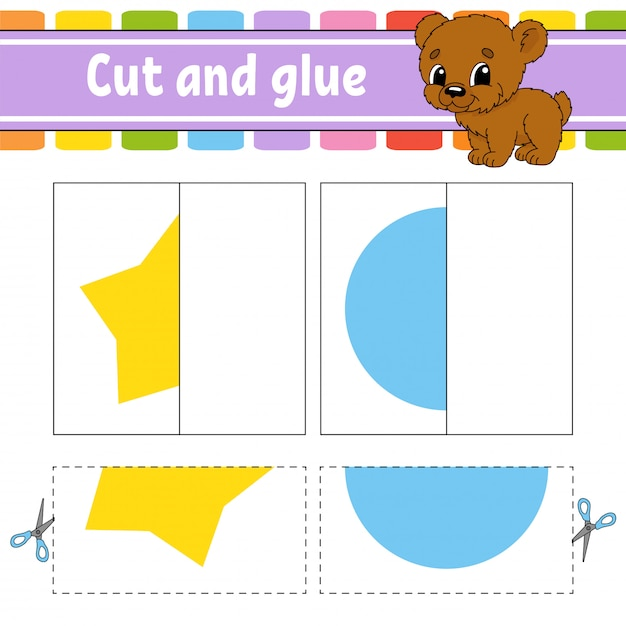 Cut and play. paper game with glue. Premium Vector