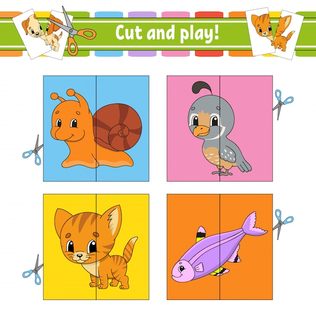 Cut and play. Premium Vector