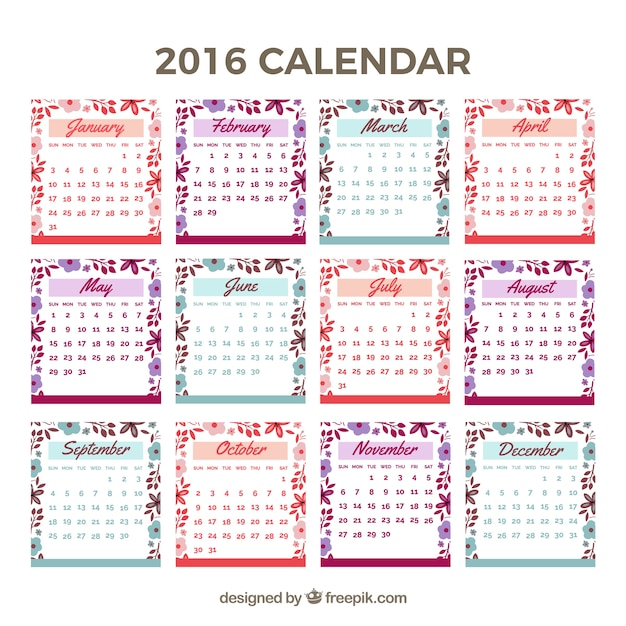 Cute 2016 calendar with floral details