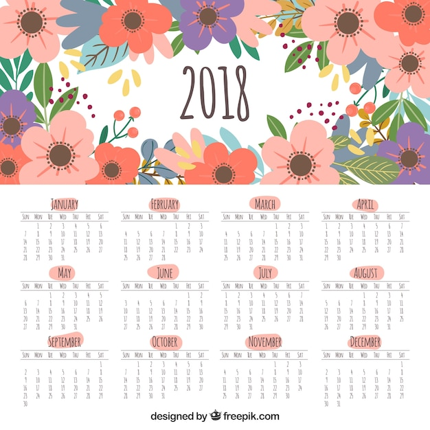 cute 2018 calendar with flowers free vector