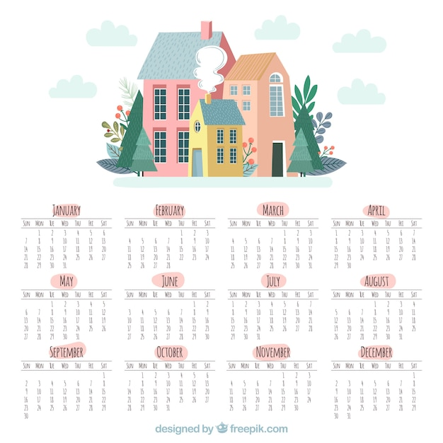 cute 2018 calendar with houses free vector