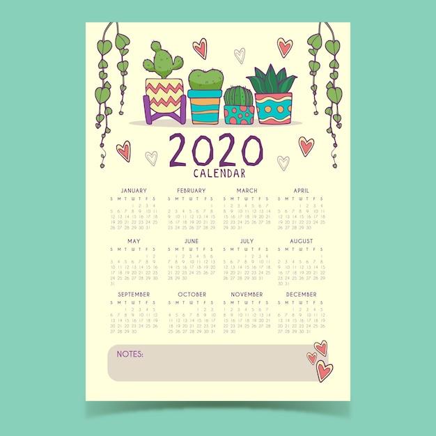 かわいい2020カレンダーテンプレート Premiumベクター