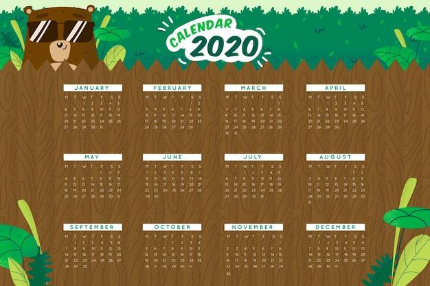 かわいい2020カレンダーテンプレート 無料ベクター