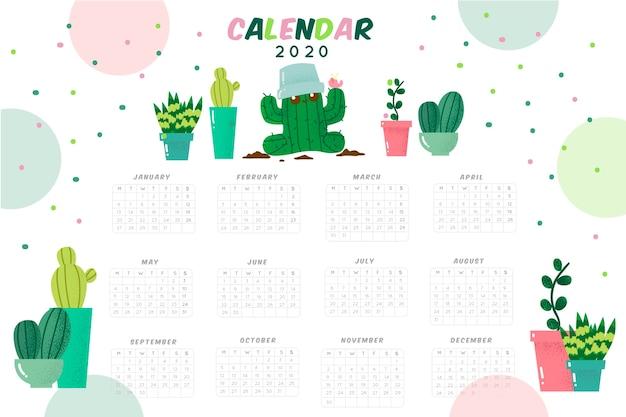 Cute 2020 calendar template Free Vector