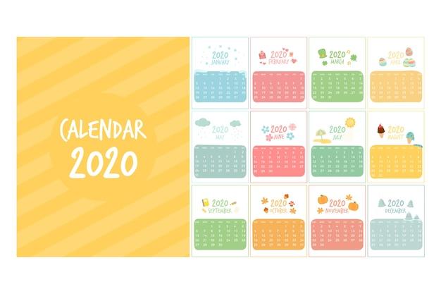 Симпатичный шаблон календаря 2020 Premium векторы