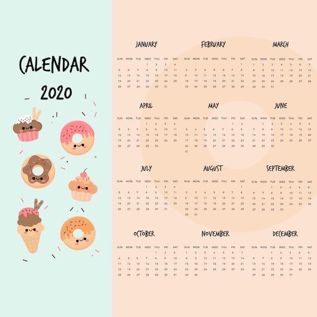 Cute 2020 calendar template | Free Vector