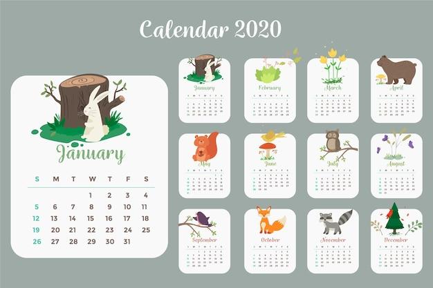 テンプレート 2020 カレンダー