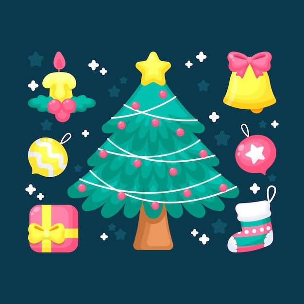 Cute 2d christmas tree with decoration Free Vector