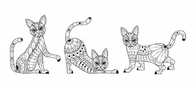 Cute 3 cats coloring page for adults Premium Vector