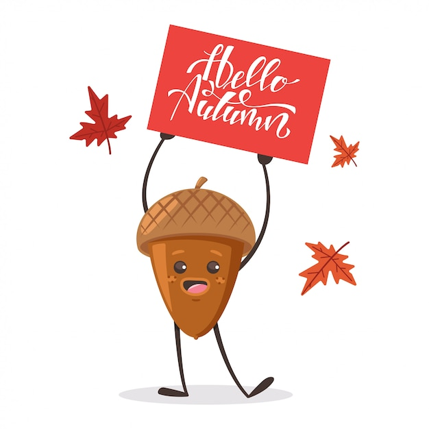 Cute acorn with maple leaves and sign Premium Vector