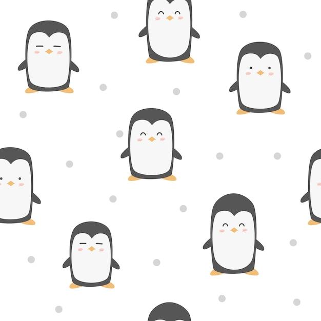 Cute adorable funny penguin animals cartoon seamless ...