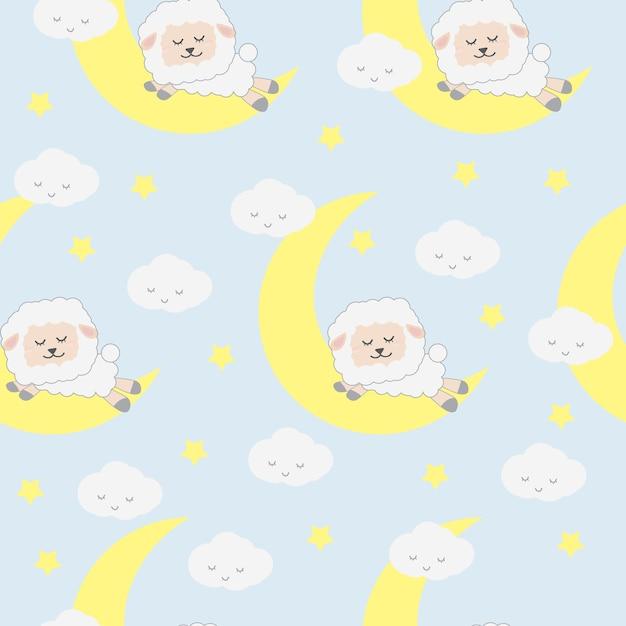 Cute Adorable Funny Sleeping Sheep Animals Cartoon Seamless Pattern Wallpaper Background Premium Vector