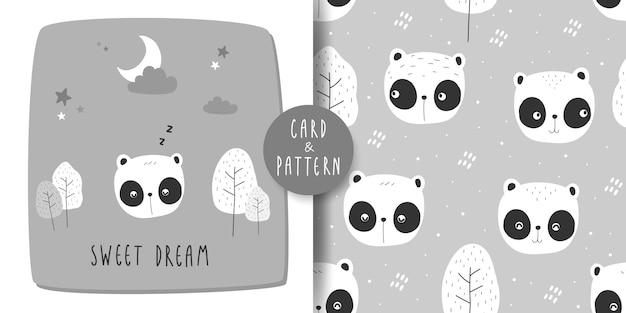 Cute adorable panda bear cartoon doodle card and seamless pattern Premium Vector