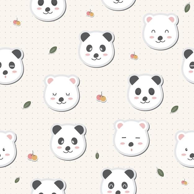 Cute adorable panda white bears cartoon seamless pattern wallpaper Premium Vector