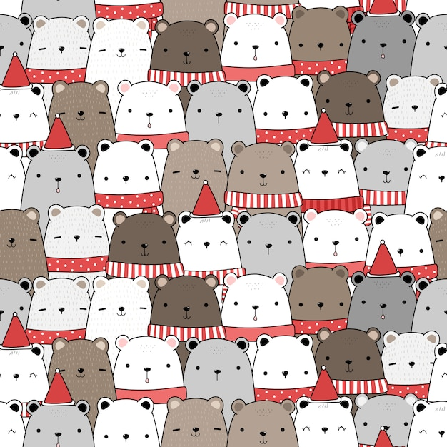 Cute adorable teddy bear merry christmas and happy new year cartoon doodle seamless pattern Premium Vector