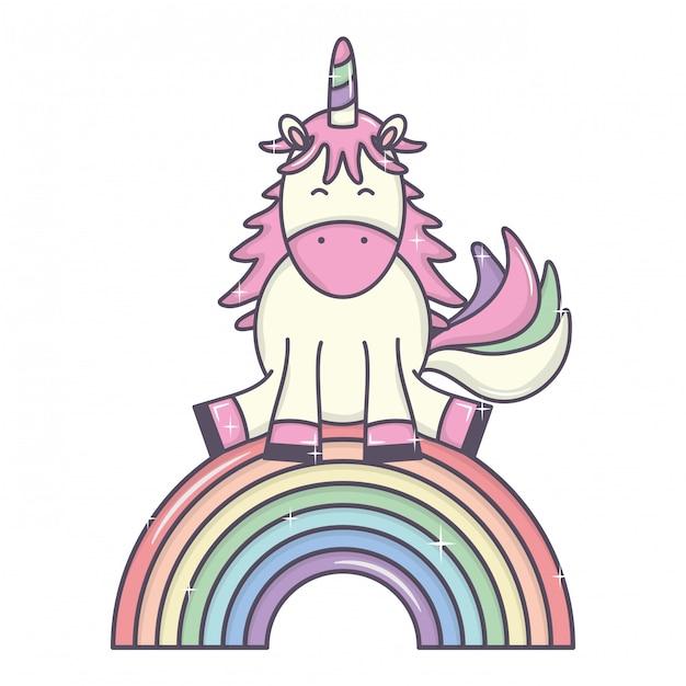 Cute adorable unicorn and rainbow Free Vector