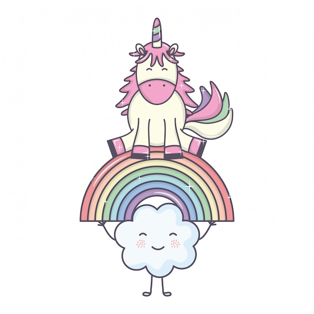 Cute adorable unicorn with clouds and rainbow Free Vector