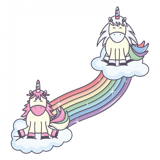 Cute adorable unicorns with clouds and rainbow Free Vector