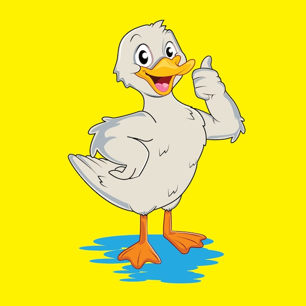 Cute and adorable white duck Premium Vector