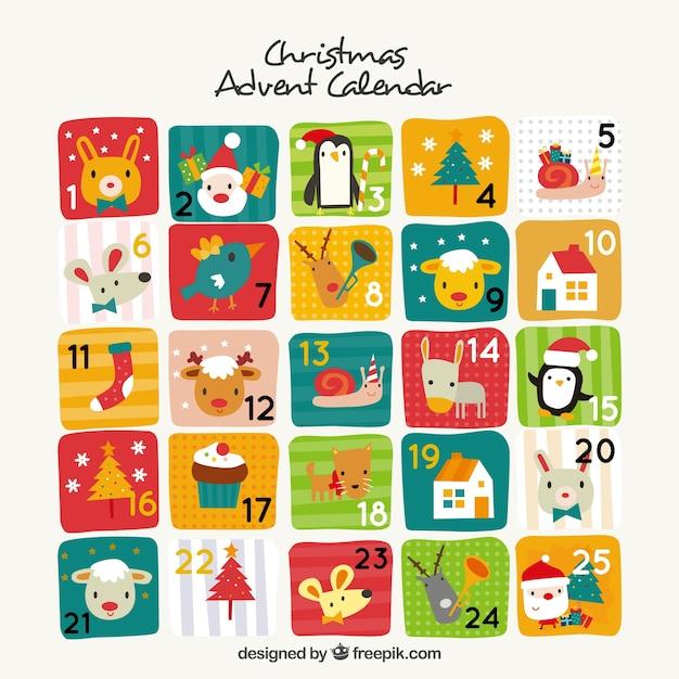 Cute advent calendar in vintage design Free Vector