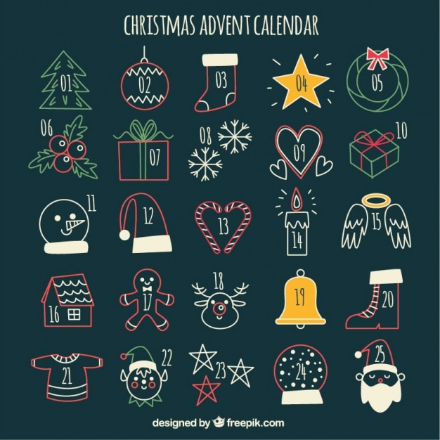 Cute advent calendar with christmas sketches Free Vector