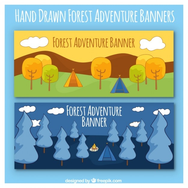 Cute adventure hand drawn banners