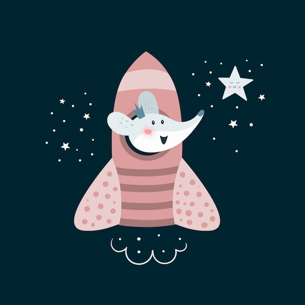 Cute adventure mouse go to the space Premium Vector