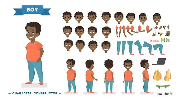 Cute african american boy character in orange t-shirt and blue pants set for animation with various views, hairstyles, face emotions, poses and gestures. isolated vector illustration in cartoon style Premium Vector