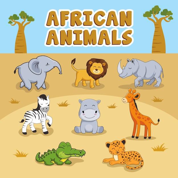 かわいいアフリカの動物漫画セットのコレクション Premiumベクター