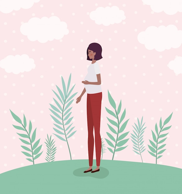 Cute afro woman pregnancy in the landscape Free Vector