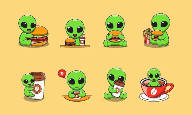 Милый чужой мультфильм с гамбургером и кофе Premium векторы