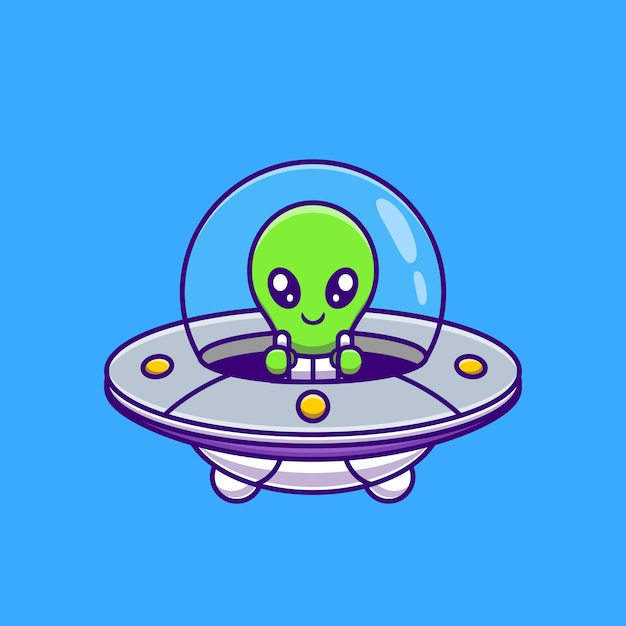 Free Vector Cute Alien Flying With Spaceship Ufo Cartoon Science Technology Icon Concept Isolated Flat Cartoon Style