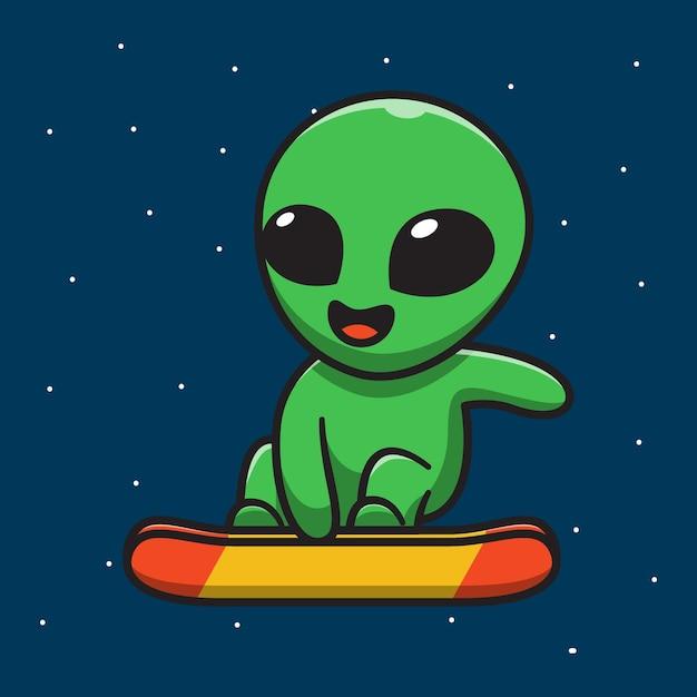 宇宙でスケートボードをしているかわいいエイリアン Premiumベクター