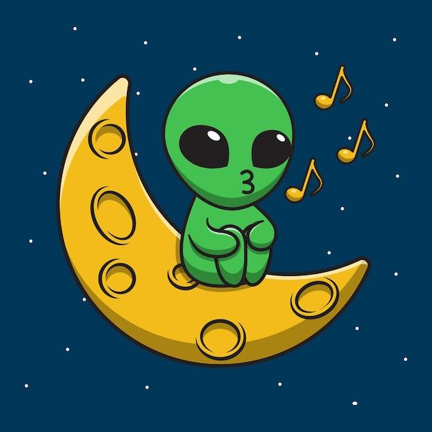 月の漫画イラストで歌うかわいいエイリアン Premiumベクター