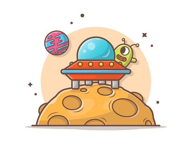 宇宙船アイコンイラストかわいいエイリアン | プレミアムベクター