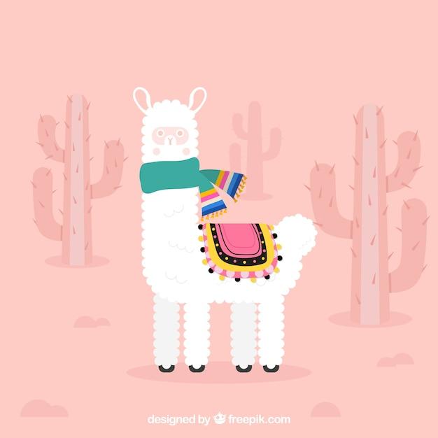 Sfondo carino alpaca con cactus Vettore gratuito
