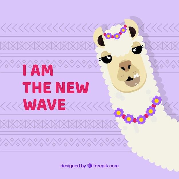 Sfondo carino alpaca con citazione Vettore gratuito
