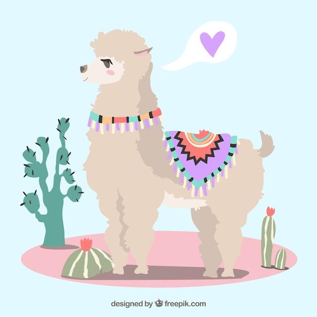 Cute alpaca background Free Vector