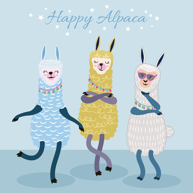 Cute alpaca character funny cartoon style. Premium Vector