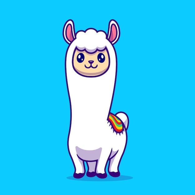 Cartoon carino alpaca llama. natura animale icona concetto isolato. stile cartone animato piatto Vettore gratuito